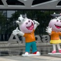 Logo and mascot 'Ali cattle' in the headquarter of Alibaba...